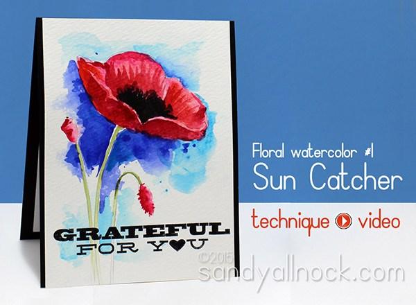 Watercolor Flowers Series: #1, Sun Catcher
