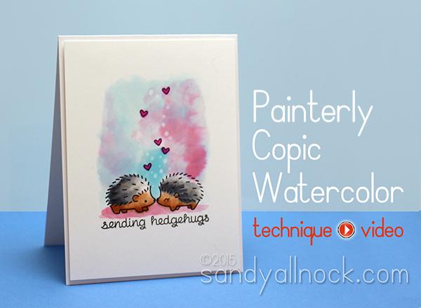 Sandy Allnock Hedgehugs Painterly Copic Watercolor