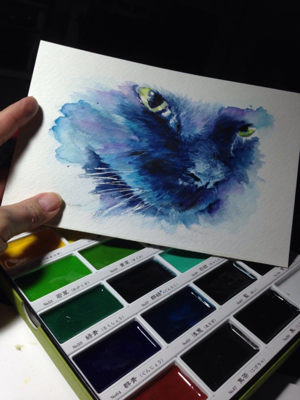 Sandy Allnock - cat face painting, Kuretake watercolors