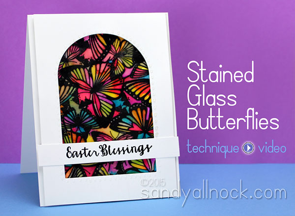 Easter card: Stained Glass Butterflies