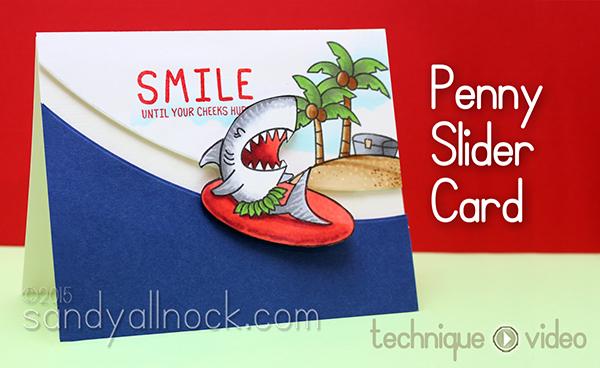 Penny Slider Card: Waffle Flower Tiger Shark