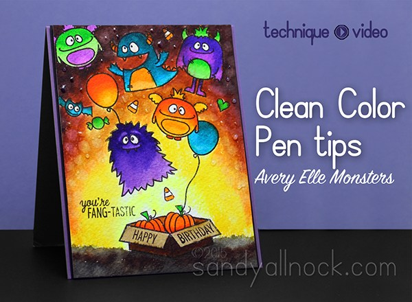 Clean Color Pen tips + Avery Elle Monsters