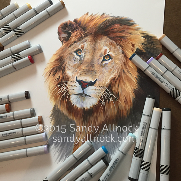wild eye  drawing a lion in copic marker