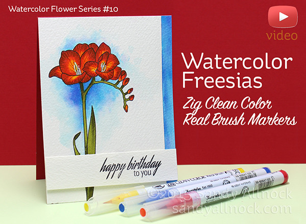 Watercolor Flower Series #10: Clean Color Real Brush Freesias