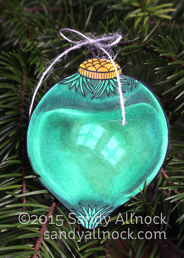 Sandy Allnock - green teardrop ornament