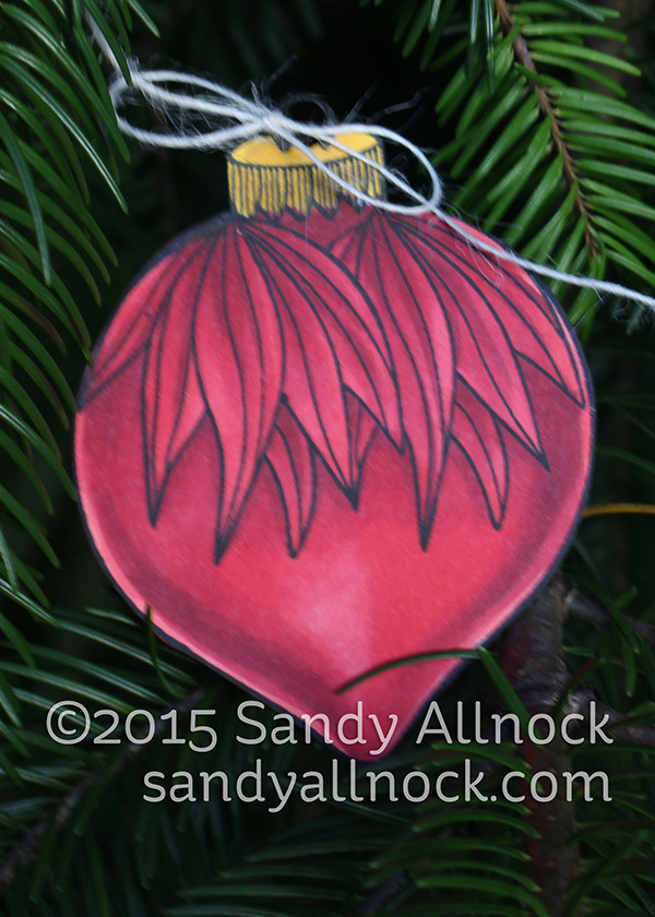 Sandy Allnock - red teardrop ornament