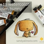 Watercolor a brown bunny