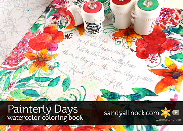 Painterly Days Watercolor Coloring Book – Sandy Allnock