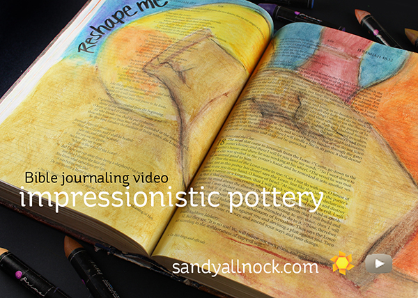 Impressionistic pottery – Bible Journaling, Prima Oil Pastels