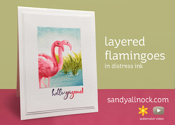 Layered Flamingoes – distress inks