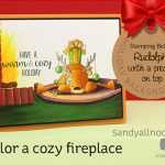 Rudolph with a present on top: Color a cozy fireplace