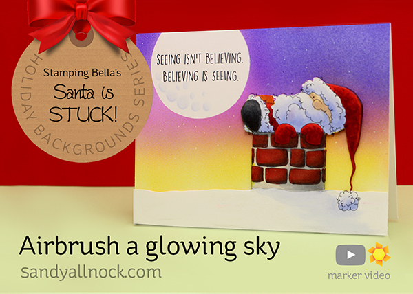 Santa is stuck: Airbrush a glowing sky