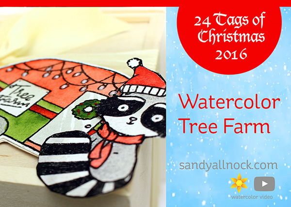 24 Tags of Christmas 2016: Watercolor Tree Farm