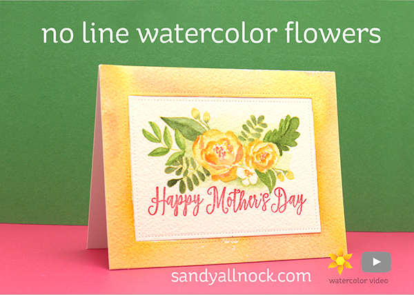 No-Line Watercolor Mothers Day Flowers