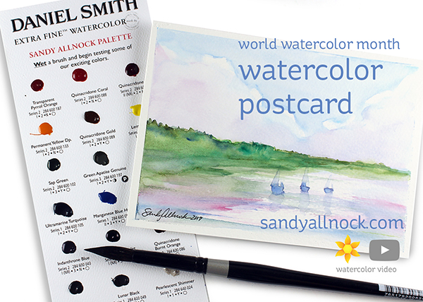 World Watercolor Month: Scenic Postcard