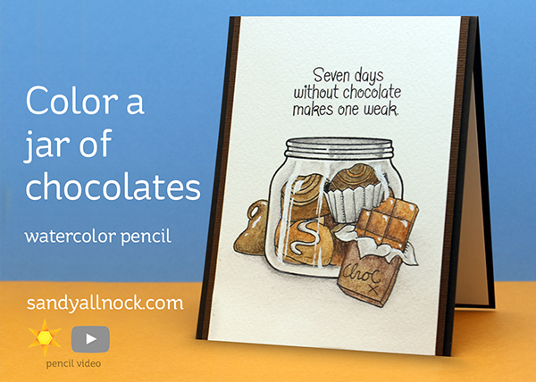 Color a jar of chocolates – in watercolor pencils