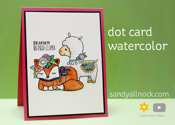 No Prob-llama – Dot Card Watercoloring