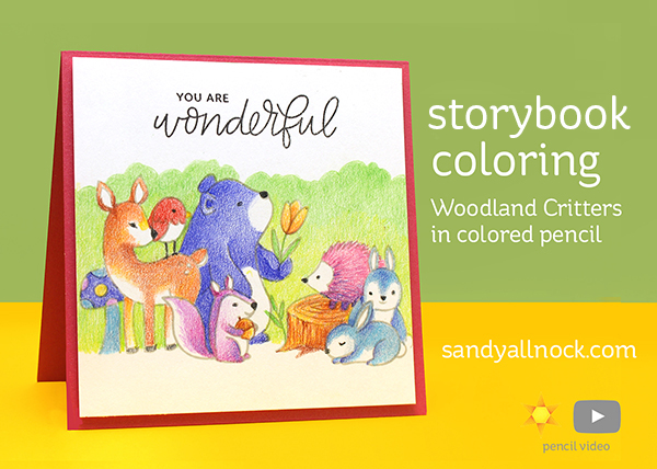 Storybook Coloring: Woodland Critters in colored pencil