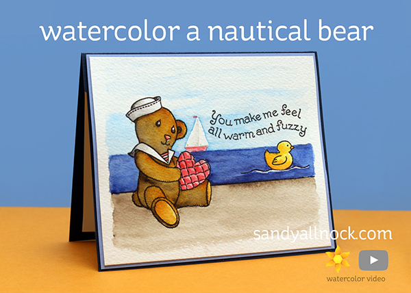 Watercolor a Nautical Bear Card