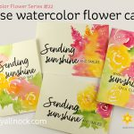 Loose watercolor flower cards – Honeybee + Ellen Hutson + Helping Texas!