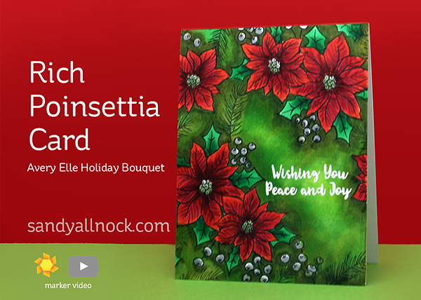 Rich Poinsettia Card – Avery Elle Holiday Bouquet + 75k winners announcement!