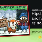 Copic Scene Card: Hipster and his reindeer