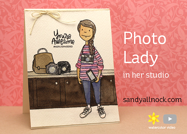 Photo Lady in her Photo Studio – Watercolor Card