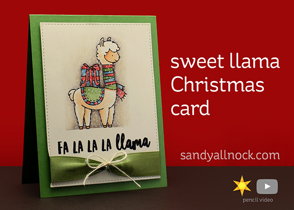 R2C Day6: Sweet Llama Christmas Card – Colored Pencil