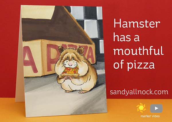 Hamster with Mouthful of Pizza – Art Impressions