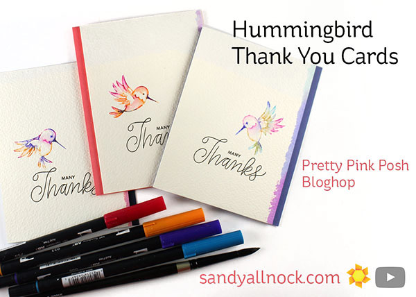 Hummingbird – Set of Thank You Cards, Pretty Pink Posh Birthday Hop