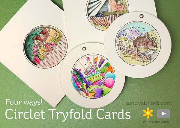 Circlet Tryfold cards by Sandy Allnock
