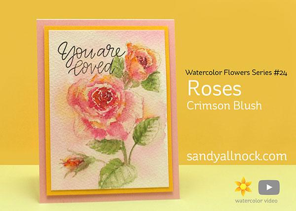 Watercolor Flowers Series #24: Roses (Crimson Blush)
