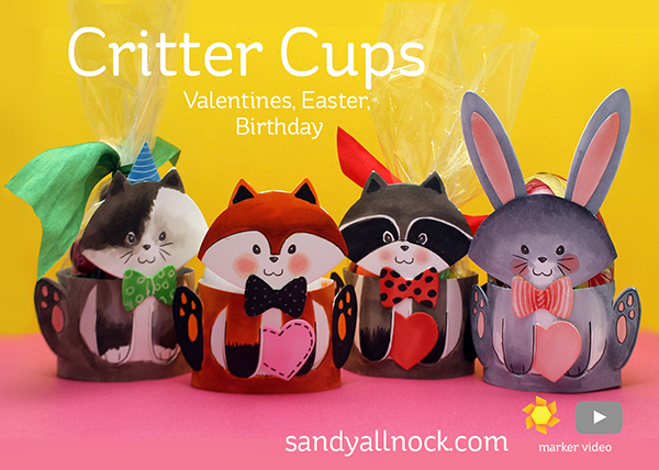 Critter Cups for Valentines, Easter, Birthday