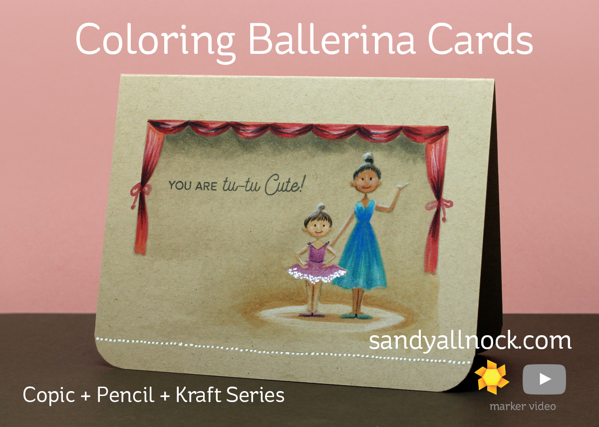 Copic + Pencil + Kraft Series: Ballerina Cards