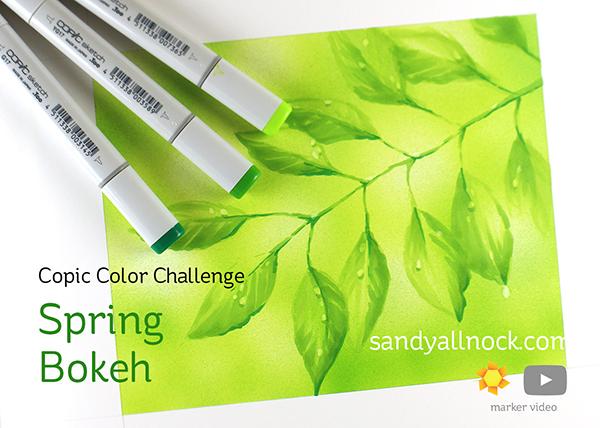 Spring Bokeh Branch in Copic Marker by Sandy Allnock