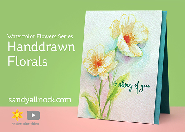 Handdrawn Florals Watercolor Card by Sandy Allnock