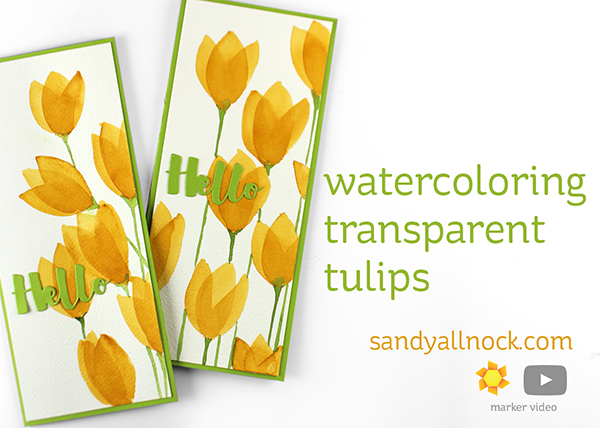 Watercoloring Simple Tulips by Sandy Allnock