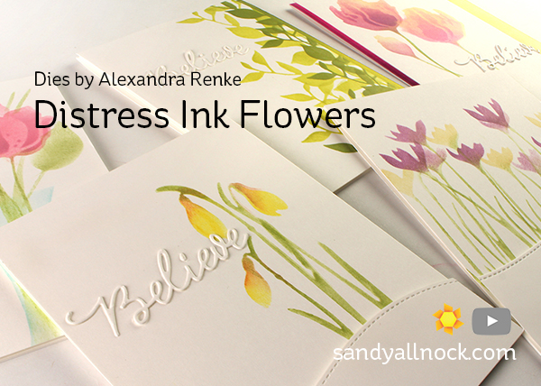 Distress Ink Flowers (Dies by Alexandra Renke)
