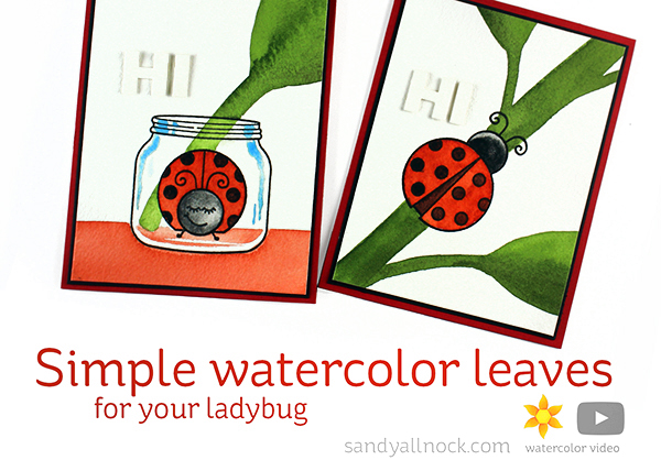 Simple watercolor leaves for your ladybug
