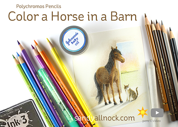 Color a Horse in a Barn – Polychromos Pencils