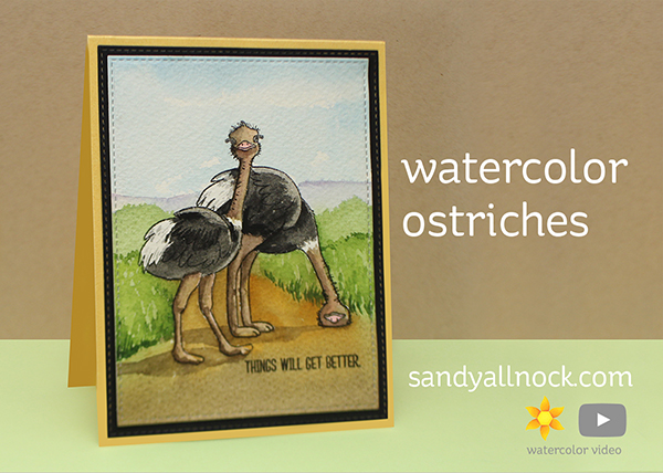 Watercolor Ostriches