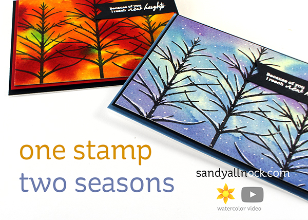 One Stamp Two Seasons – easy to paint Folk Tree