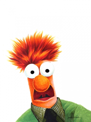 Muppet Character Beaker, drawn in Copic Marker by Sandy Allnock.