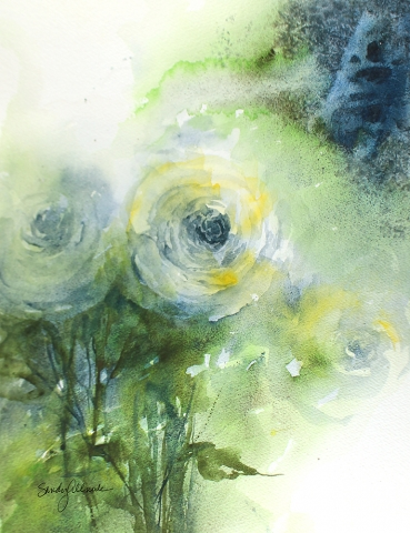 Loose and textured roses painted in watercolor by artist Sandy Allnock.