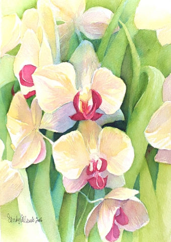Watercolored Iris flowers painted by artist Sandy Allnock.