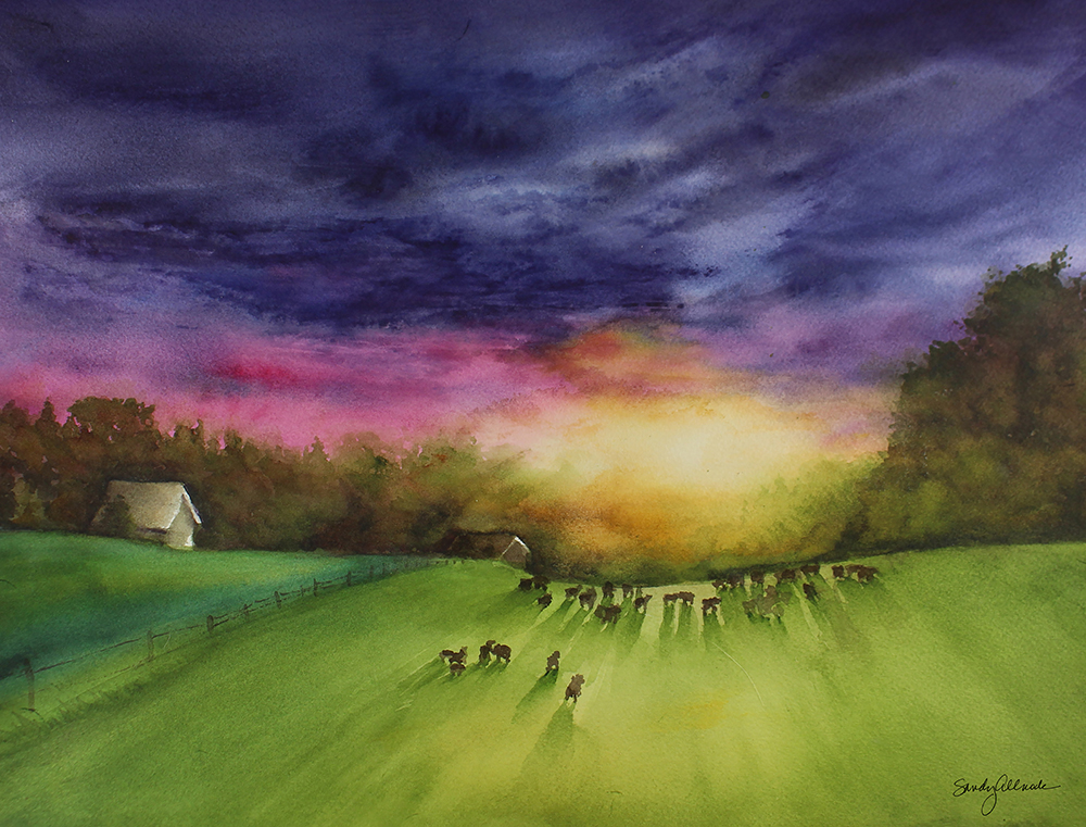 Cows on a farm in watercolor by artist Sandy Allnock
