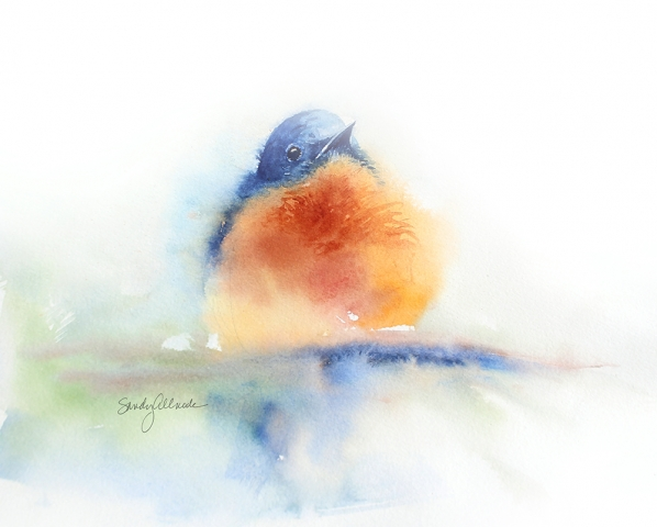 Loose watercolor bluebird by artist Sandy Allnock