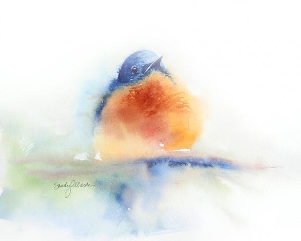 Loose watercolor bluebird by artist Sandy Allnock