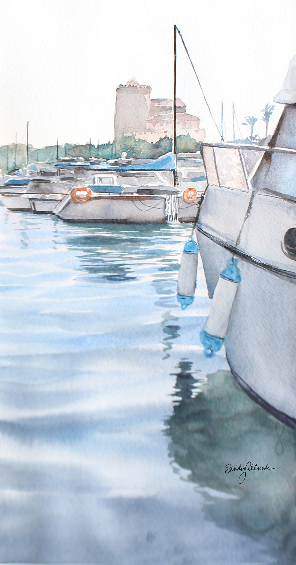Boats anchored in harbor outside Venice painted in watercolor by artist Sandy Allnock