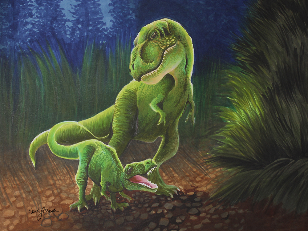Mother and child T-rex dinosaurs drawn in Copic marker by artist Sandy Allnock